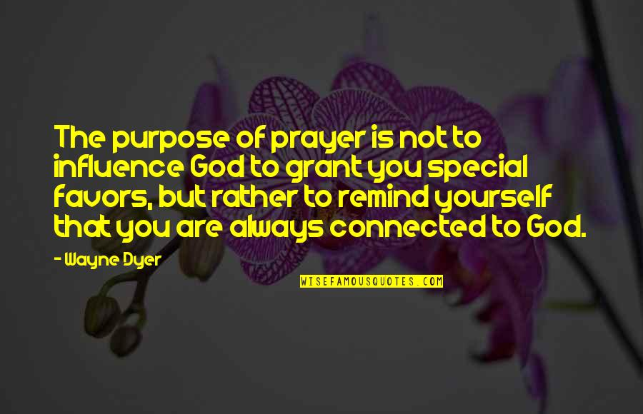 Mike Cooley Quotes By Wayne Dyer: The purpose of prayer is not to influence