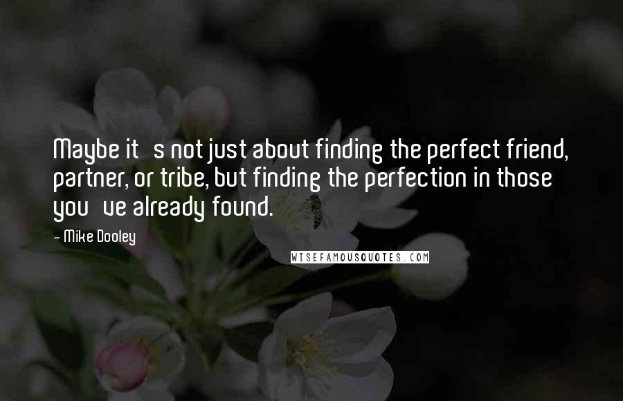 Mike Dooley quotes: Maybe it's not just about finding the perfect friend, partner, or tribe, but finding the perfection in those you've already found.