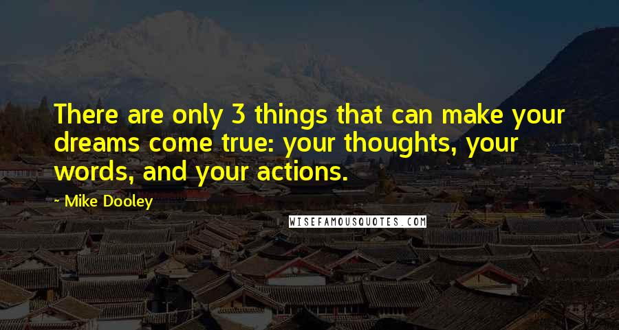 Mike Dooley quotes: There are only 3 things that can make your dreams come true: your thoughts, your words, and your actions.