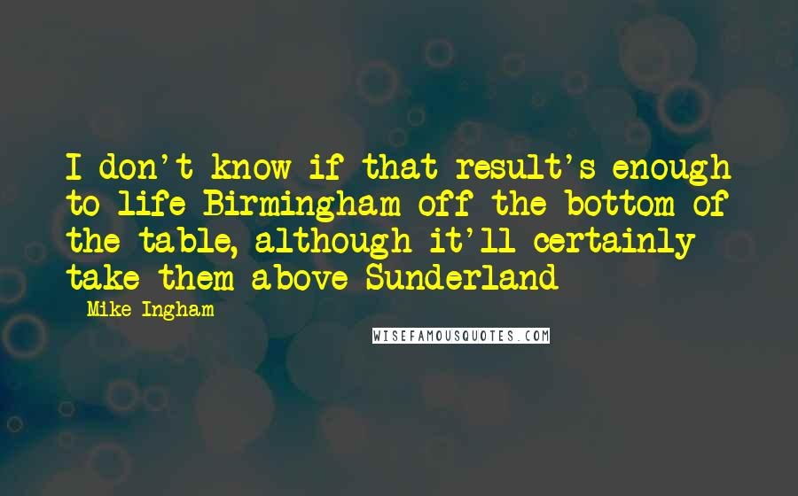 Mike Ingham quotes: I don't know if that result's enough to life Birmingham off the bottom of the table, although it'll certainly take them above Sunderland