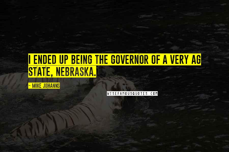 Mike Johanns quotes: I ended up being the governor of a very ag state, Nebraska.