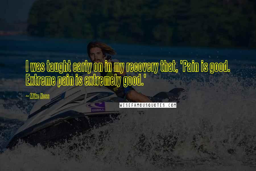 Mike Ness quotes: I was taught early on in my recovery that, 'Pain is good. Extreme pain is extremely good.'
