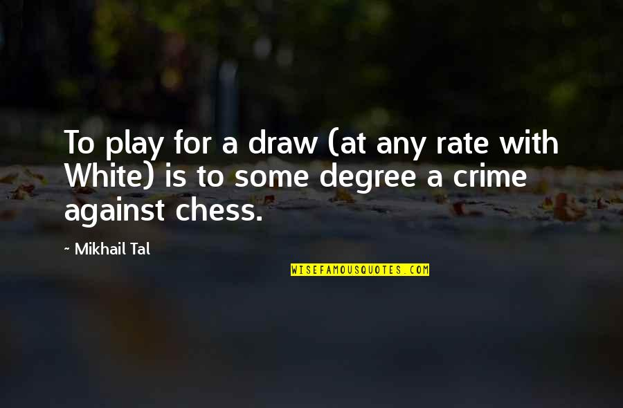 Mikhail Tal Quotes By Mikhail Tal: To play for a draw (at any rate