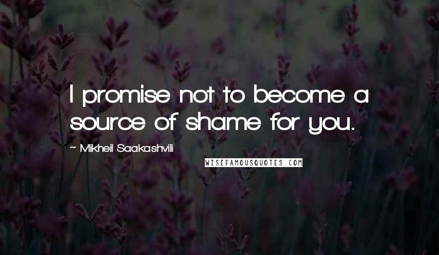 Mikheil Saakashvili quotes: I promise not to become a source of shame for you.