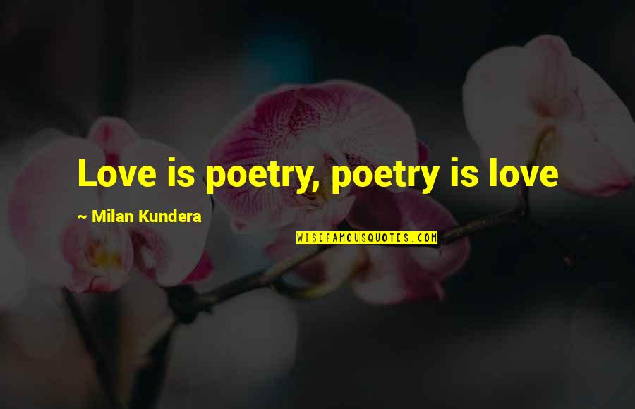 Milan Kundera Quotes By Milan Kundera: Love is poetry, poetry is love