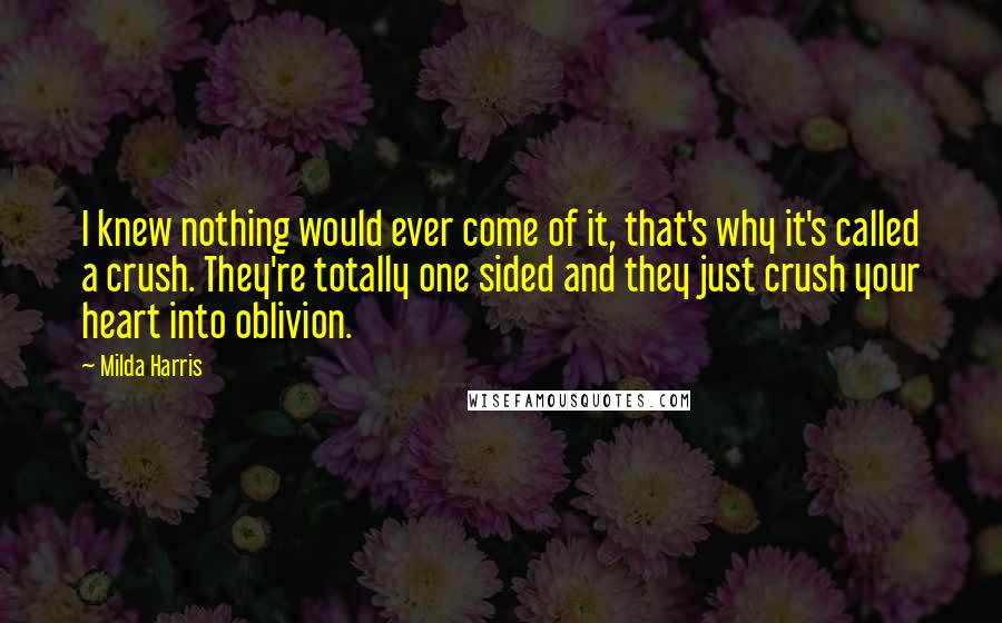 Milda Harris quotes: I knew nothing would ever come of it, that's why it's called a crush. They're totally one sided and they just crush your heart into oblivion.