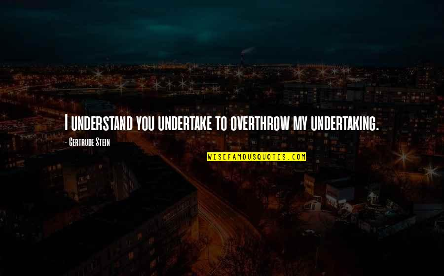 Miles Kane Song Quotes By Gertrude Stein: I understand you undertake to overthrow my undertaking.