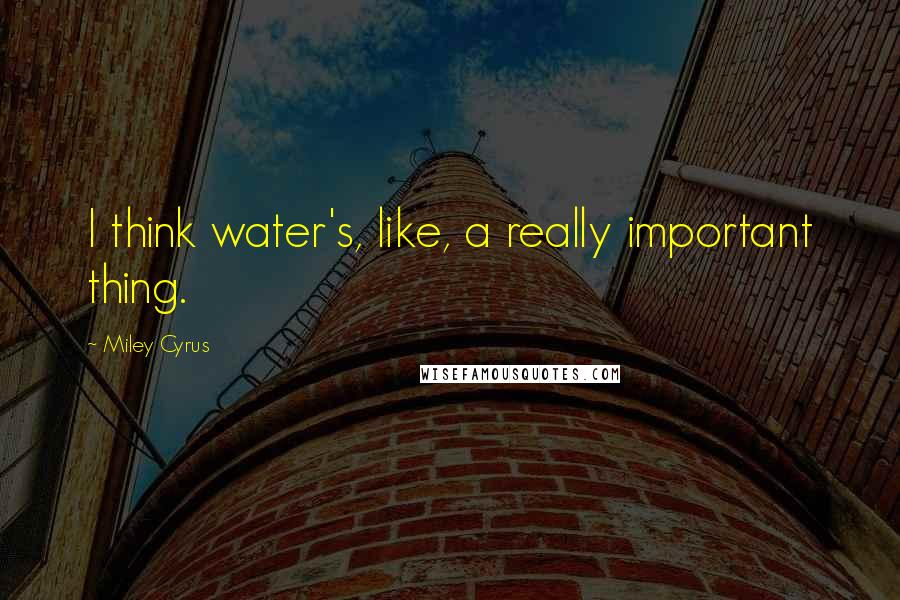 Miley Cyrus quotes: I think water's, like, a really important thing.