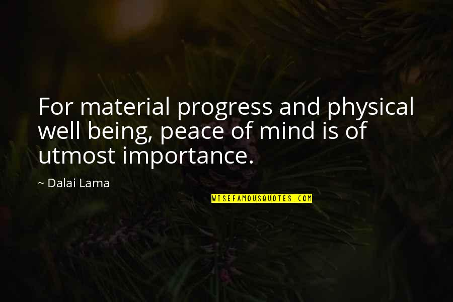 Mind And Peace Quotes By Dalai Lama: For material progress and physical well being, peace