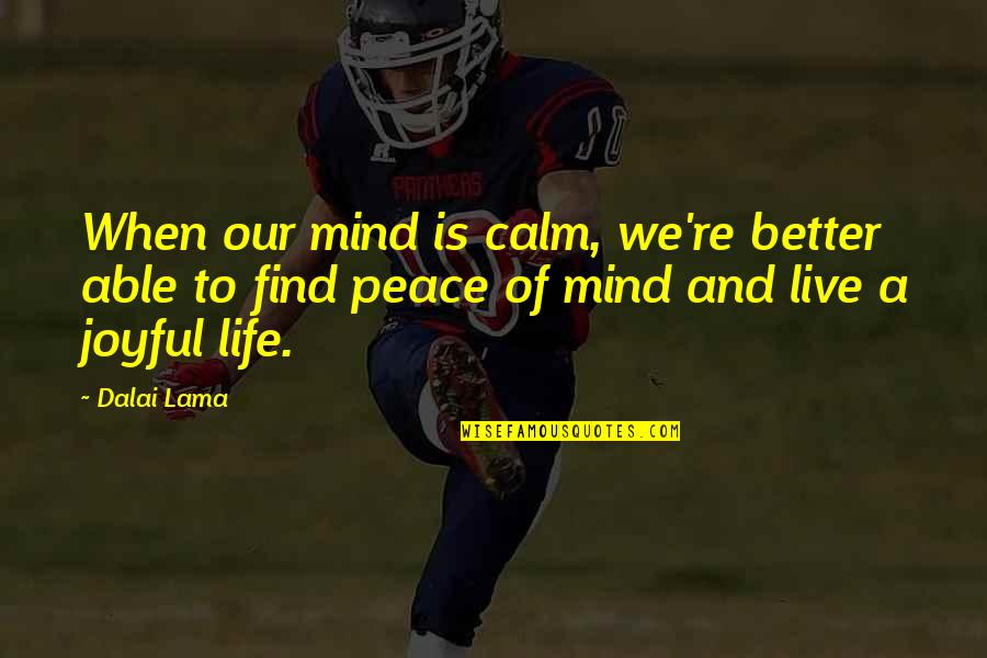 Mind And Peace Quotes By Dalai Lama: When our mind is calm, we're better able