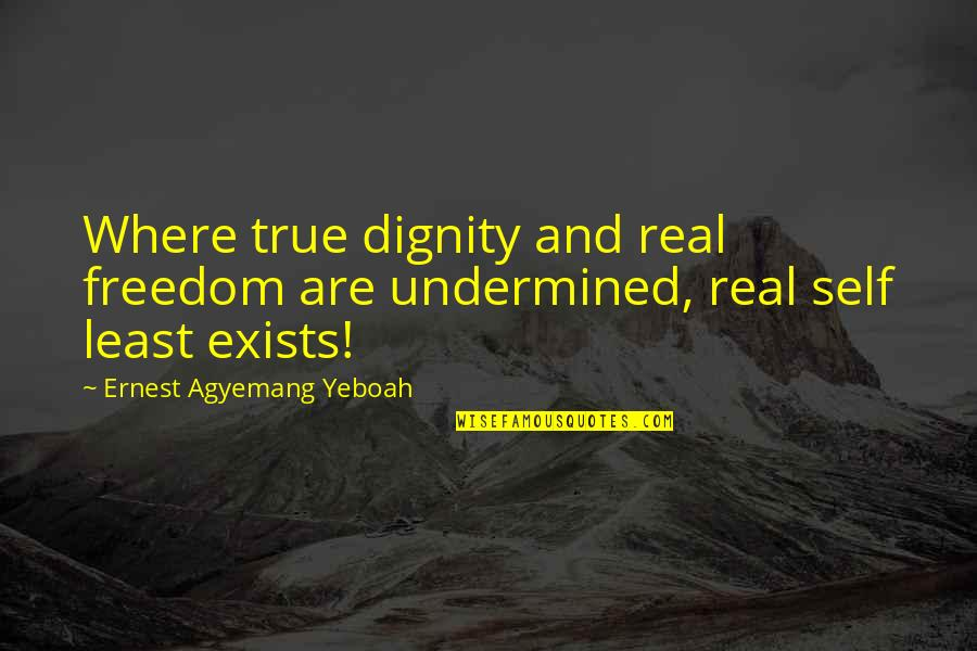 Mind And Peace Quotes By Ernest Agyemang Yeboah: Where true dignity and real freedom are undermined,