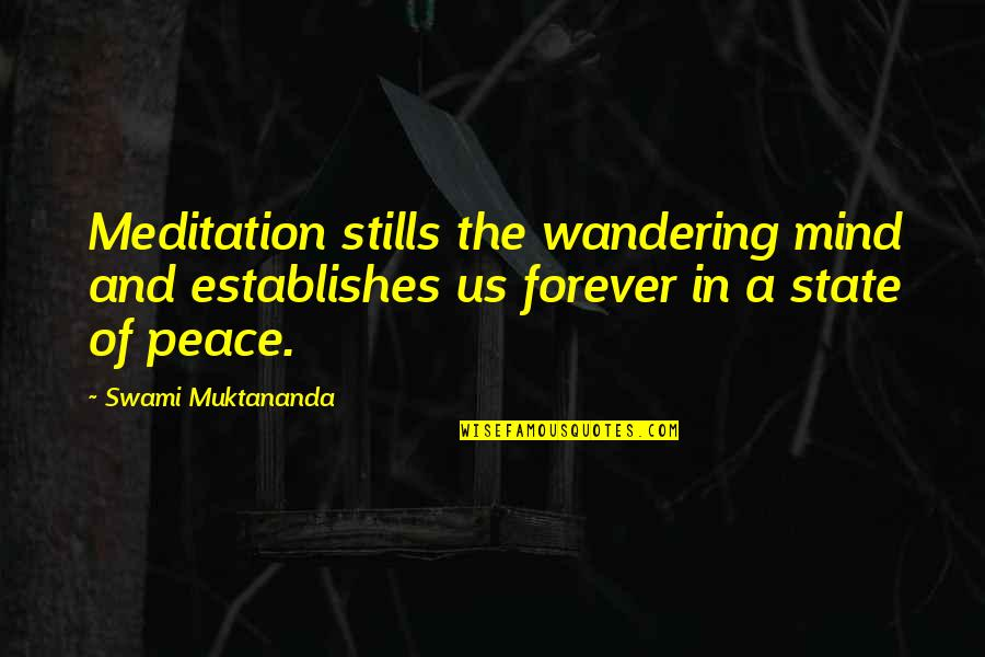 Mind And Peace Quotes By Swami Muktananda: Meditation stills the wandering mind and establishes us