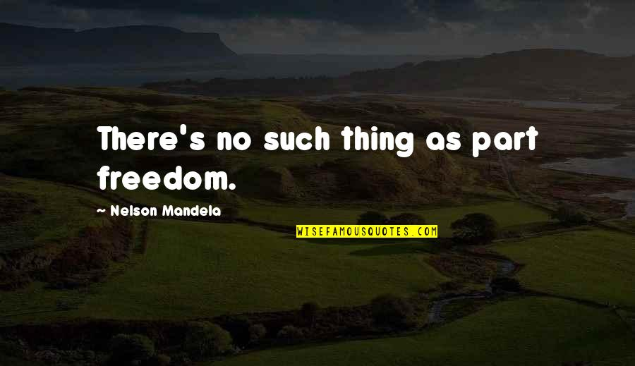 Mind Freedom Quotes By Nelson Mandela: There's no such thing as part freedom.
