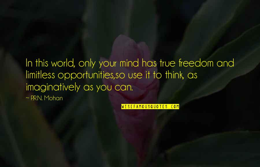 Mind Freedom Quotes By P.R.N. Mohan: In this world, only your mind has true