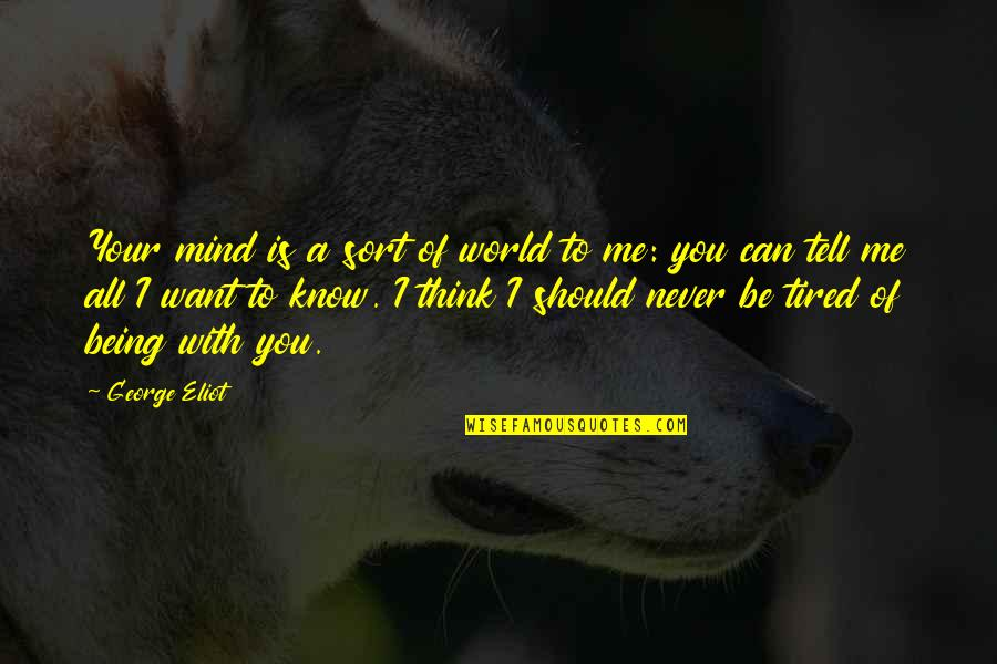 Mind Is Tired Quotes By George Eliot: Your mind is a sort of world to
