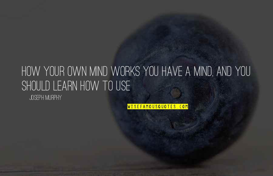 Mind Your Own Quotes By Joseph Murphy: How Your Own Mind Works You have a