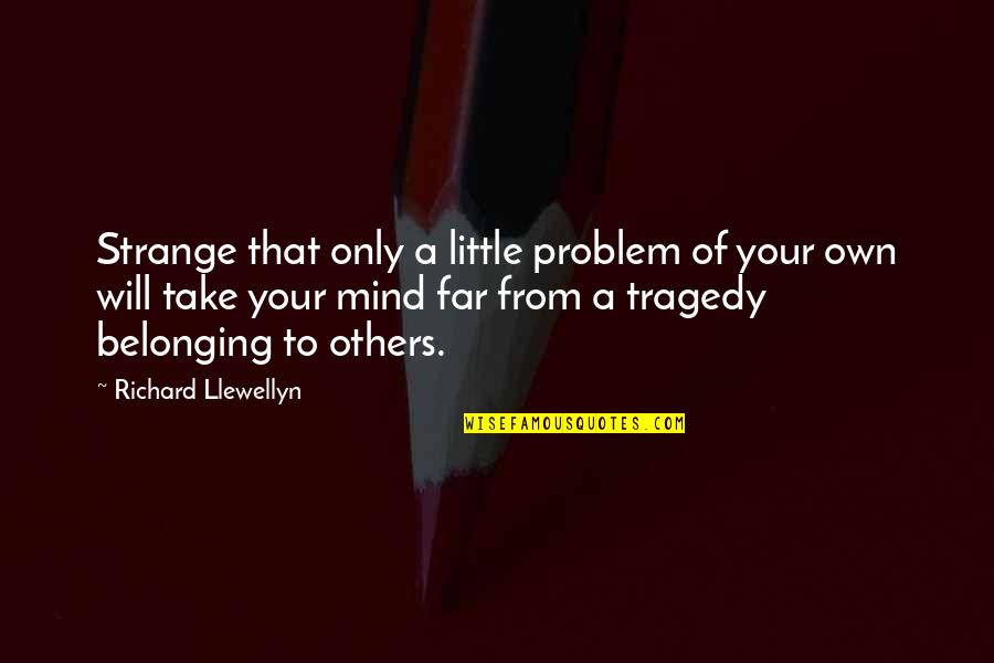Mind Your Own Quotes By Richard Llewellyn: Strange that only a little problem of your