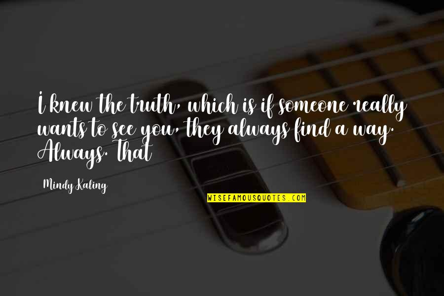 Mindy Quotes By Mindy Kaling: I knew the truth, which is if someone