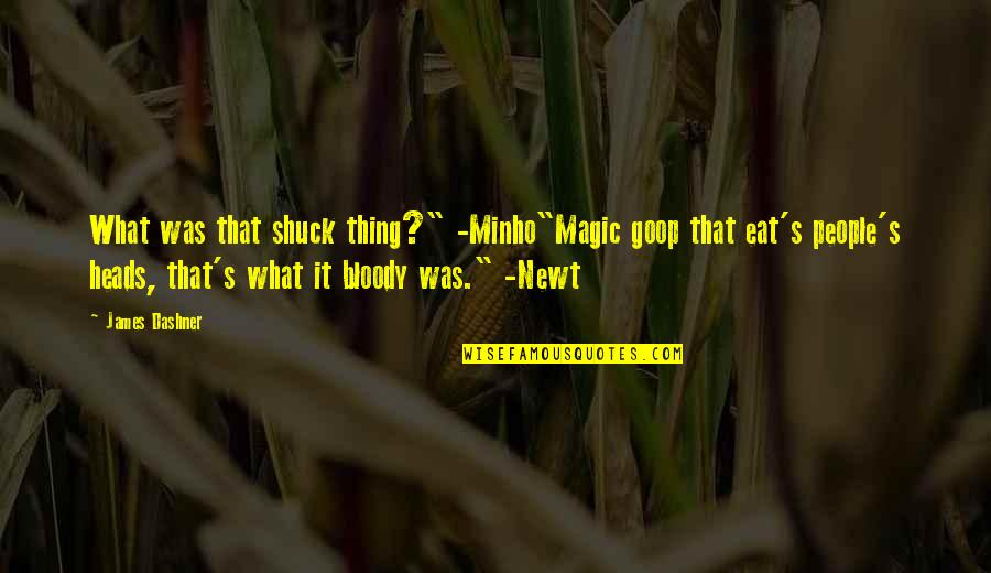"""Minho Quotes By James Dashner: What was that shuck thing?"""" -Minho""""Magic goop that"""