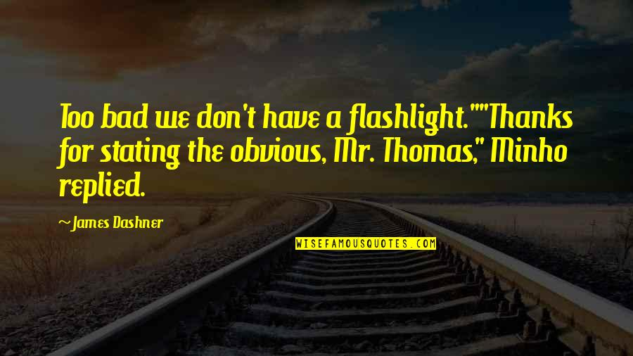 """Minho Quotes By James Dashner: Too bad we don't have a flashlight.""""""""Thanks for"""
