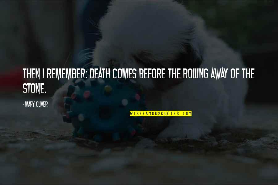 Miniaturization Quotes By Mary Oliver: Then I remember: death comes before the rolling