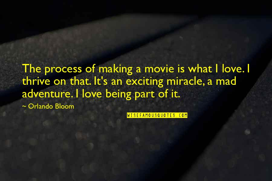 Miracle Of Love Quotes By Orlando Bloom: The process of making a movie is what