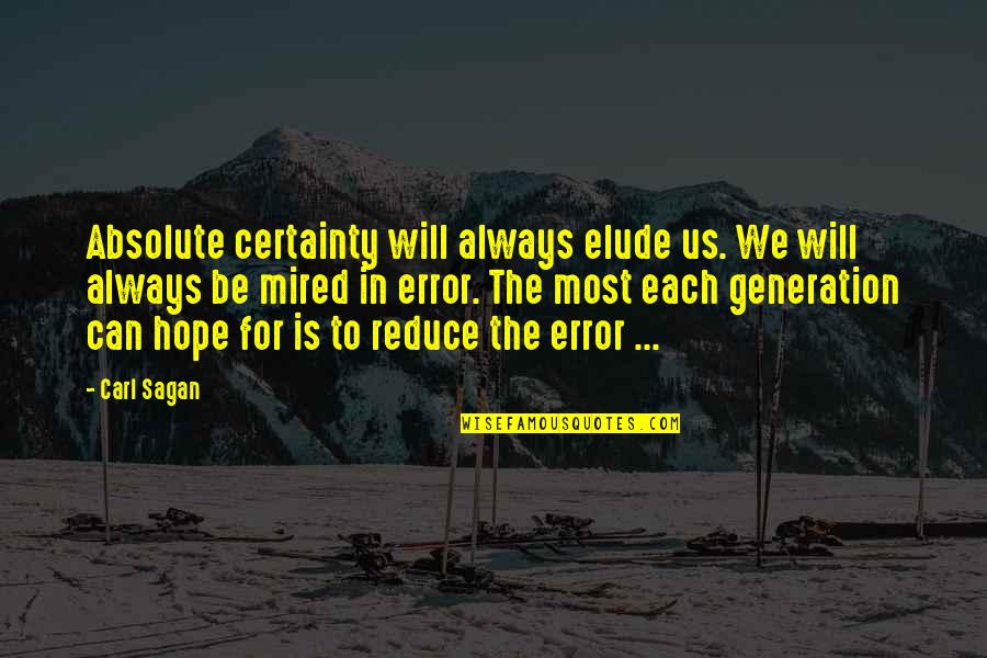 Mired Quotes By Carl Sagan: Absolute certainty will always elude us. We will