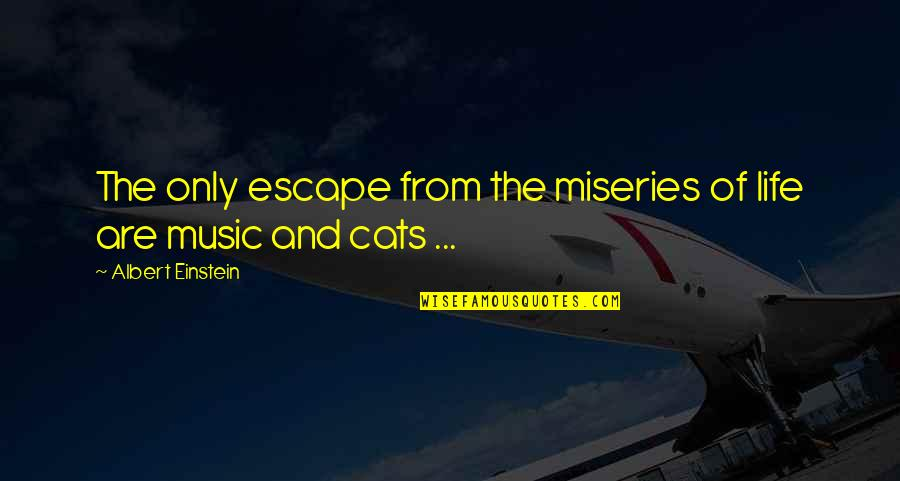 Miseries Of Life Quotes By Albert Einstein: The only escape from the miseries of life