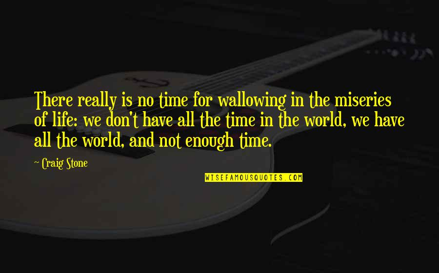 Miseries Of Life Quotes By Craig Stone: There really is no time for wallowing in