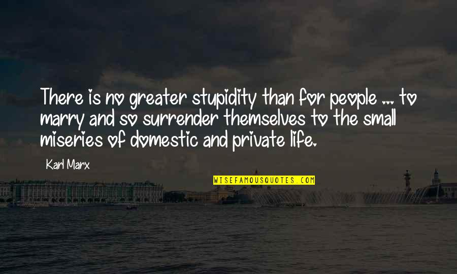 Miseries Of Life Quotes By Karl Marx: There is no greater stupidity than for people