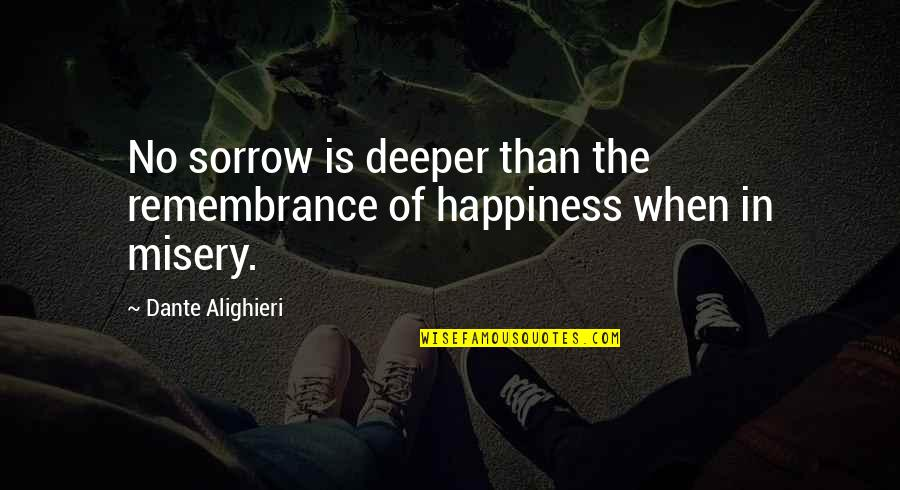 Misery And Suffering Quotes By Dante Alighieri: No sorrow is deeper than the remembrance of