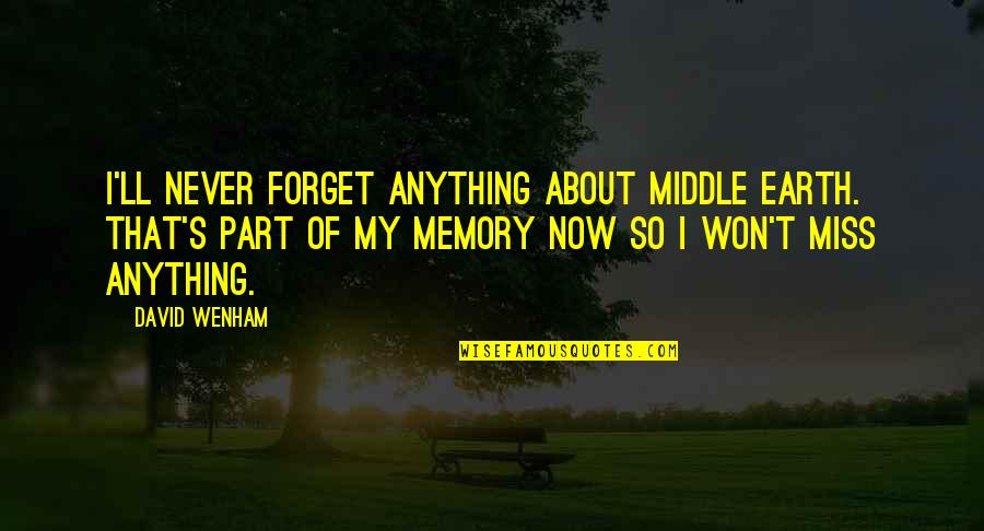 Miss All Of You Quotes By David Wenham: I'll never forget anything about Middle Earth. That's