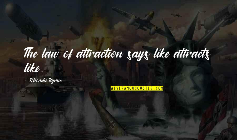 Missing Piece Book Quotes By Rhonda Byrne: The law of attraction says like attracts like.