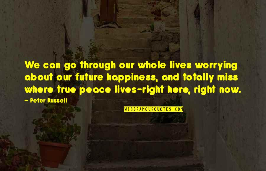 Missing You Happiness Quotes By Peter Russell: We can go through our whole lives worrying