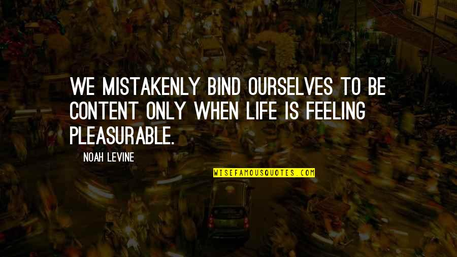 Mistakenly Quotes By Noah Levine: We mistakenly bind ourselves to be content only