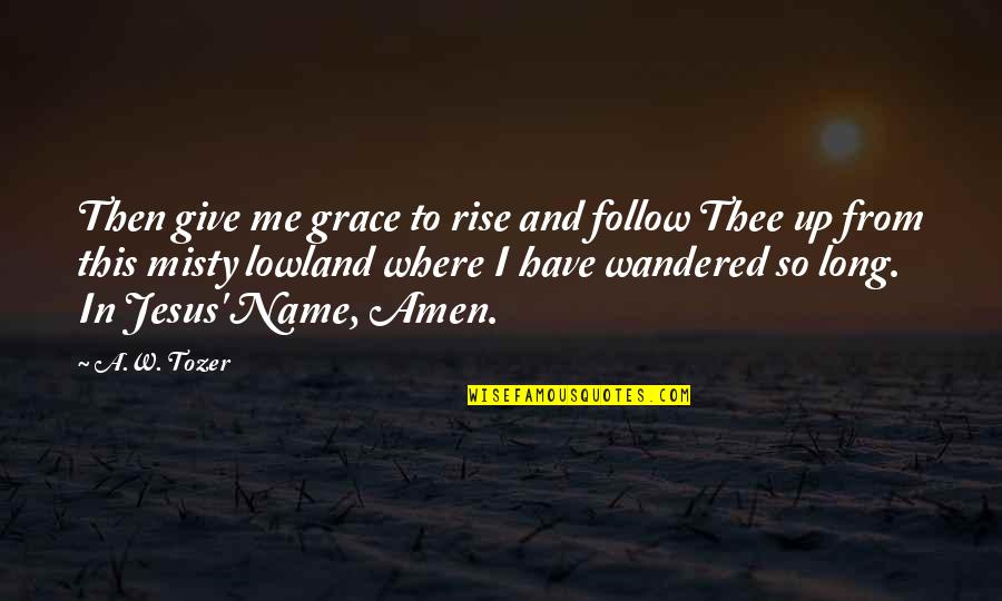 Misty Quotes By A.W. Tozer: Then give me grace to rise and follow