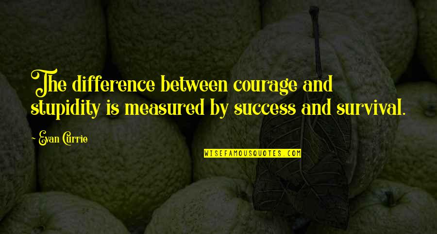 Mix Cds Quotes By Evan Currie: The difference between courage and stupidity is measured