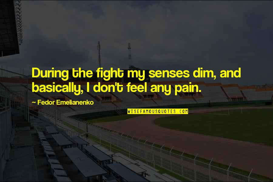 Mma Fighting Quotes By Fedor Emelianenko: During the fight my senses dim, and basically,