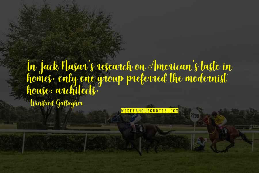Modernist Architecture Quotes By Winifred Gallagher: In Jack Nasar's research on American's taste in