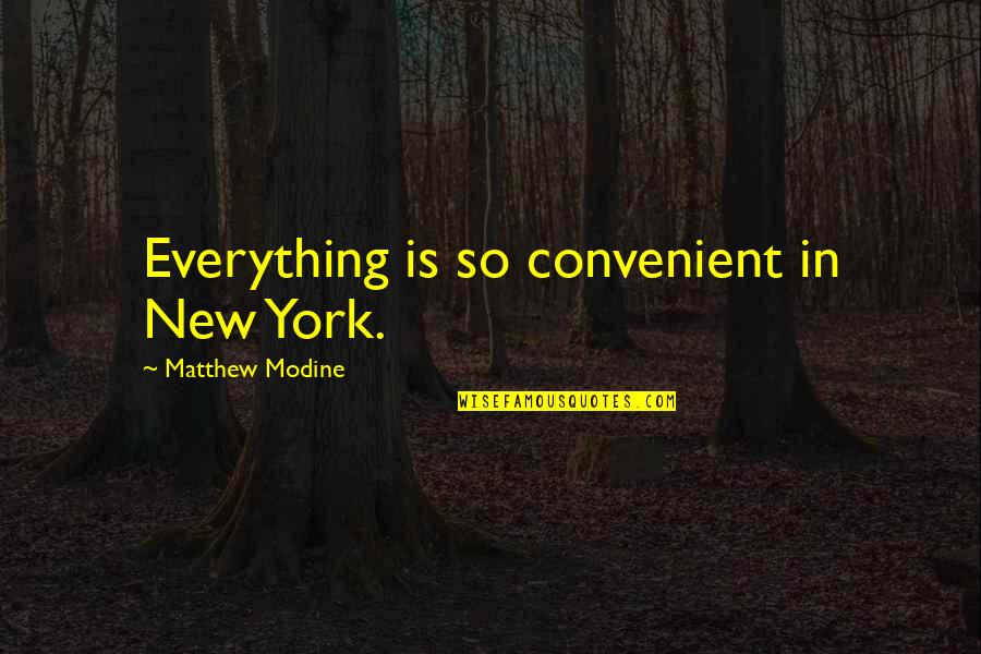 Modine Quotes By Matthew Modine: Everything is so convenient in New York.