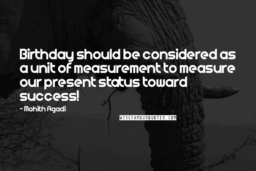 Mohith Agadi quotes: Birthday should be considered as a unit of measurement to measure our present status toward success!