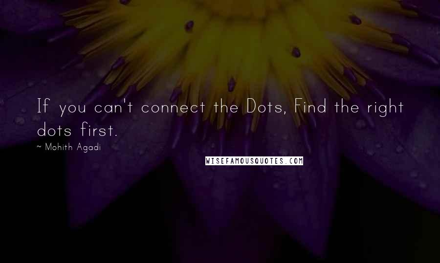 Mohith Agadi quotes: If you can't connect the Dots, Find the right dots first.