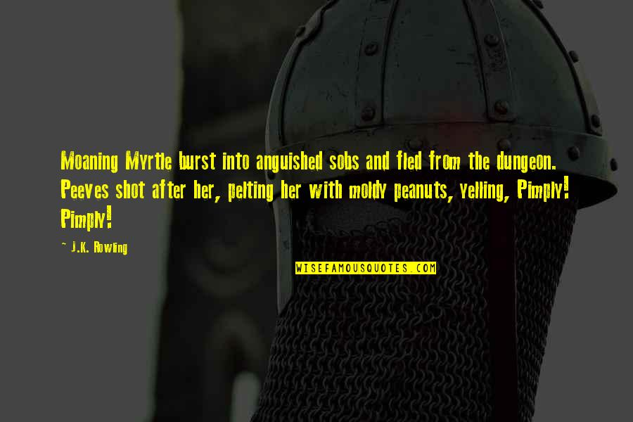 Moldy Quotes By J.K. Rowling: Moaning Myrtle burst into anguished sobs and fled