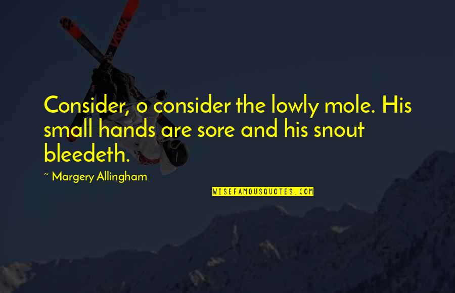Mole Quotes By Margery Allingham: Consider, o consider the lowly mole. His small