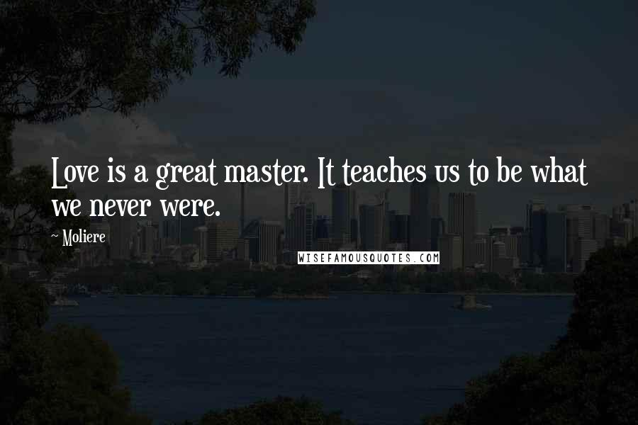 Moliere quotes: Love is a great master. It teaches us to be what we never were.