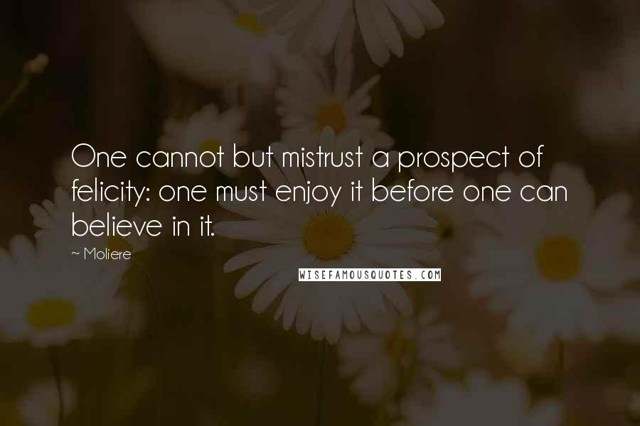 Moliere quotes: One cannot but mistrust a prospect of felicity: one must enjoy it before one can believe in it.