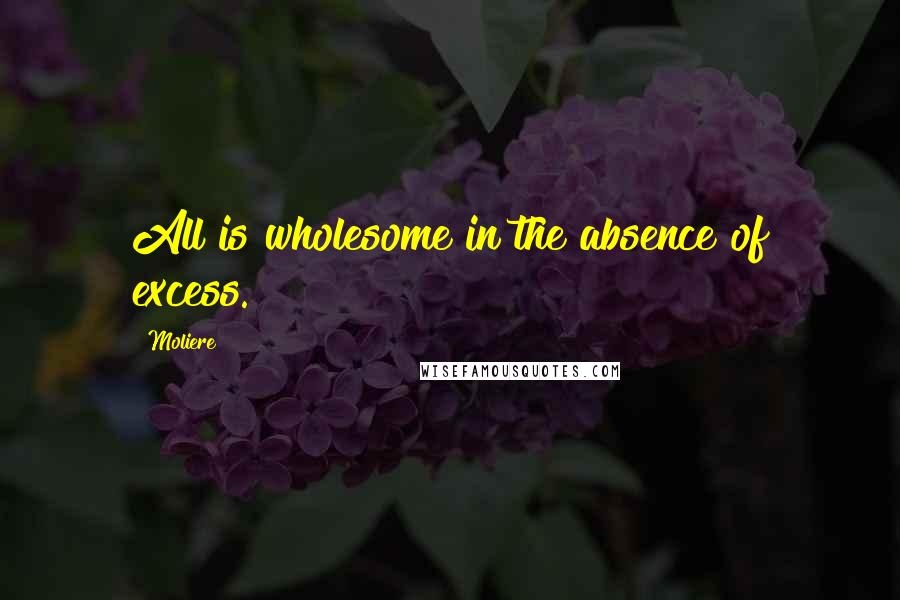 Moliere quotes: All is wholesome in the absence of excess.