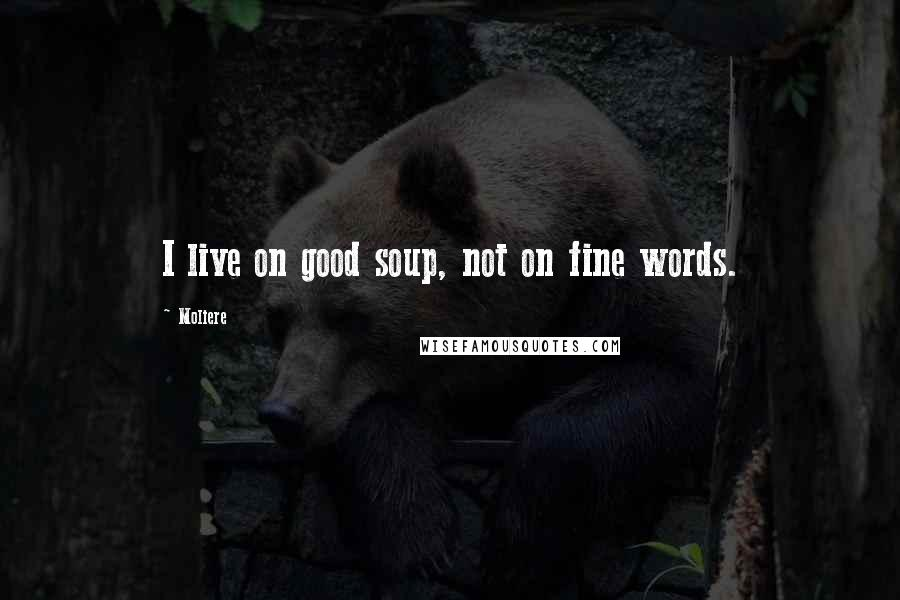 Moliere quotes: I live on good soup, not on fine words.
