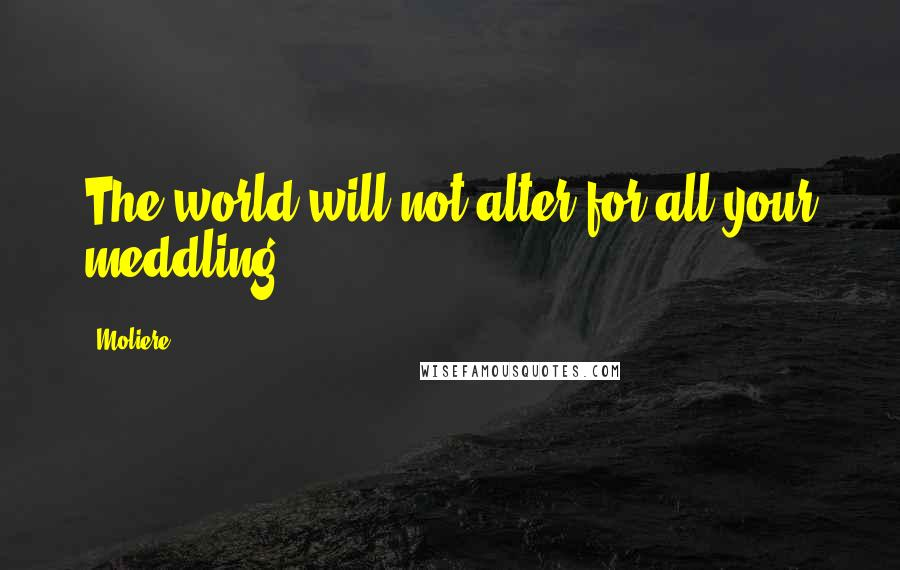 Moliere quotes: The world will not alter for all your meddling.