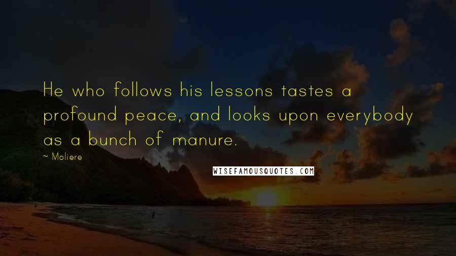 Moliere quotes: He who follows his lessons tastes a profound peace, and looks upon everybody as a bunch of manure.